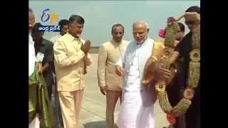 Grand Reception For PM Narendra Modi At Gannavaram Airport