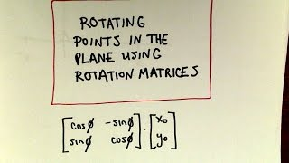 In this video I justify the formula used involving matrices to help find the new coordinates of a point after a counter clockwise rotation.  There is one quick example as well at the end!  The formula is pretty easy to use so long as your remember matrix multiplication so I spent more time on the justification part since it is more interested!