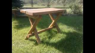 preview picture of video 'Beskidzki stoliczek drewniany ogrodowy stylowy maj 2014 Krempna'