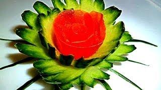 Цветок из огурца и помидора. Decoration of vegetables Украшения из овощей.
