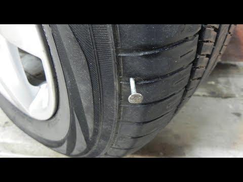 Быстрый ремонт прокола бескамерной шины.