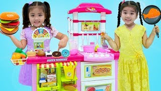 Suri and Annie Cooking Pretend Food with Toy Kitchen Play Set