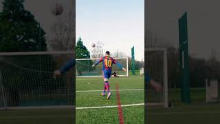 EPIC MESSI CROSSBAR VOLLEY GOAL! 🔥💥 #Shorts