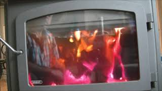 Drolet HT3000 - Sample wood stove burn with open and closed draft