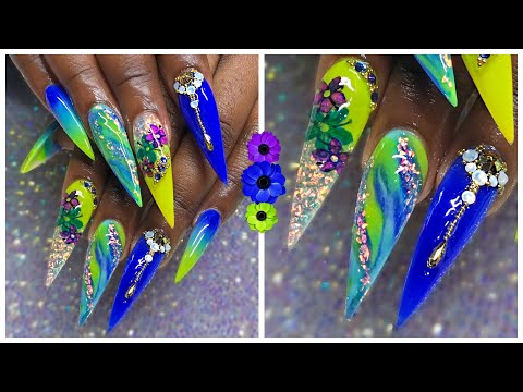 Long Stiletto Acrylic Nails Tutorial | Design Tutorial | Royal Blue Teal and Neon Yellow