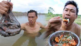 หากุ้งริมแม่น้ำ ทำเมนูแซ่บ สมุนไพรน้ำตก - dooclip.me