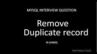 Remove duplicate records in mysql query