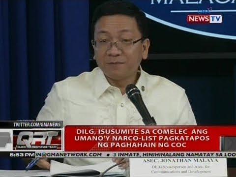 QRT: DILG, isusumite sa COMELEC ang umano'y narco-list pagkatapos ng paghahain ng COC