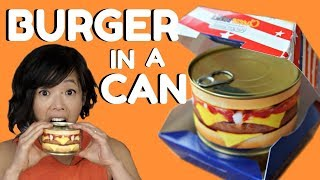 HAMBURGER in a CAN Taste Test - ready-to-eat cheeseburger & steak house burger