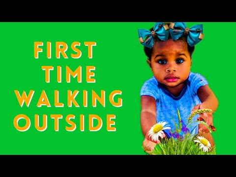 Baby first time walking outside