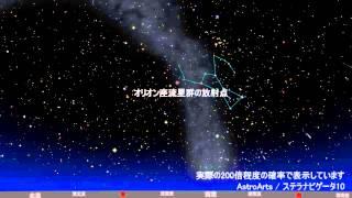 2014年オリオン座流星群見え方のシミュレーション