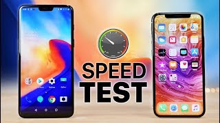 OnePlus 6 vs iPhone X Speed Test! - Video Youtube