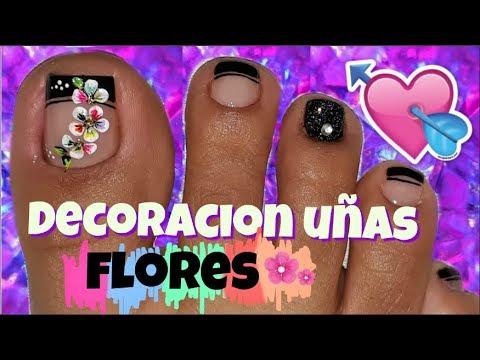 Decoración De Uñas Pies Nail Decoration Feet Flower
