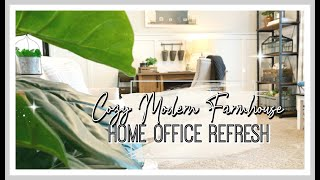 MODERN FARMHOUSE HOME OFFICE REFRESH | CLEAN & DECORATE WITH ME 2020!