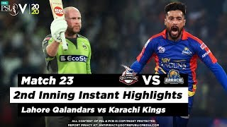 Lahore Qalandars vs Karachi Kings | 2nd Inning Highlights | Match 23 | 8 March | HBL PSL 2020  Subscribe to Official HBL Pakistan Super League Channel and stay updated with the latest happenings. http://bit.ly/PakistanSuperLeagueOfficial  #HBLPSLV #TayyarHain  Cricket fans from around the world are excited about the Fifth edition of the HBL Pakistan Super League. Competition is heating up among fans as their favorite HBL Pakistan Super League teams take on each other in the lucrative cricket extravaganza which includes leading Pakistan national cricketers, established international players, and emerging players in each of the team's Playing XI.