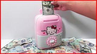 Đồ chơi KÉT SẮT MINI rút tiền thông minh mẫu mới vali kéo Hello Kitty, ATM machine toys (Chim Xinh)