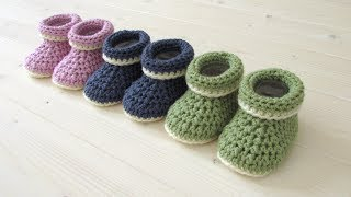 How To Crochet Cuffed Baby Booties For Beginners - Beginners Baby Shoes
