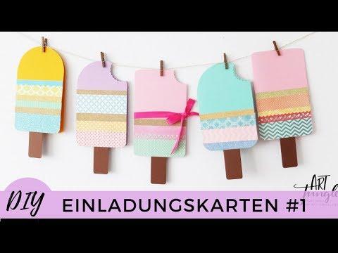 Einladungskarten selber basteln #1 – Kindergeburtstag - Birthday Invitations DIY – Tutorial - Eis