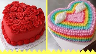 Easy Heart Shaped Cakes Decorating Ideas 💛  (Cake Compilation)