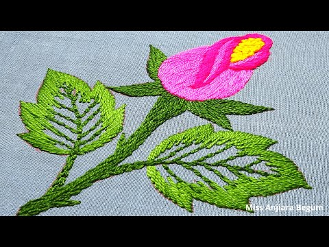 Easy Hand Embroidery Leaves and Flower, Online Embroidery Practice, Fancy Embroidery Design-321