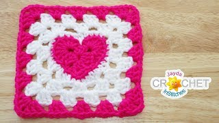 Heart At The Centre Granny Square Crochet Pattern & Tutorial