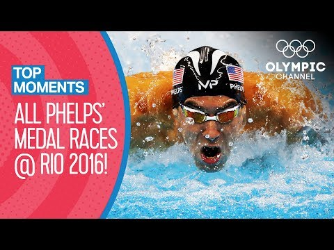 ALL Michael Phelps' Olympic Medal Races from Rio 2016   Top Moments