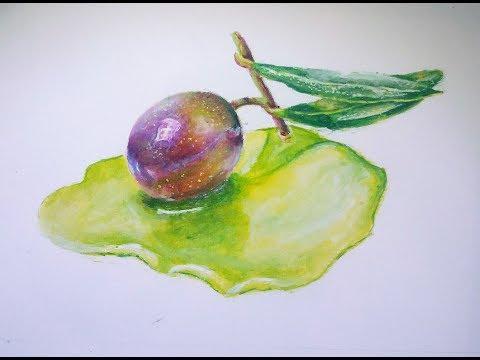 cómo pintar  una : Aceituna    con acrílicos