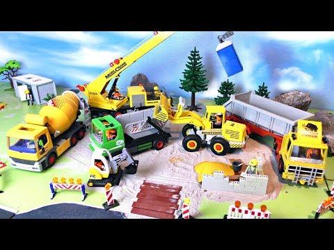 Bagger, Betonmischer, Kran & Trucks - Baustelle für Kinder -  Playmobil Vehicles for Kids