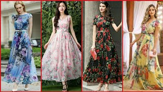 Gorgeous And Elegant Tulle Homecoming Floral Print Long Maxi Dress Design