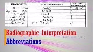Radiographic Interpretation   Abbreviations   Piping