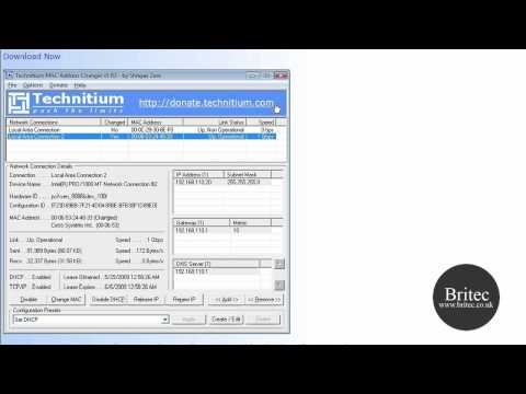 Networking: How To Change Or Spoof MAC Address In Windows XP, Vista, By Britec Mp3