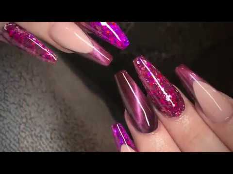 Cat Eye | Cherry Cola Acrylic Nails | The Gel Bottle