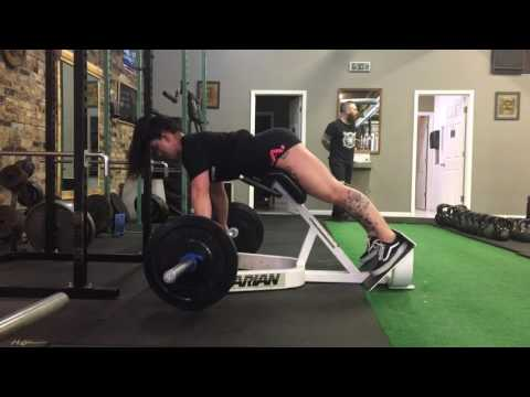 Barbell weighed back extensions