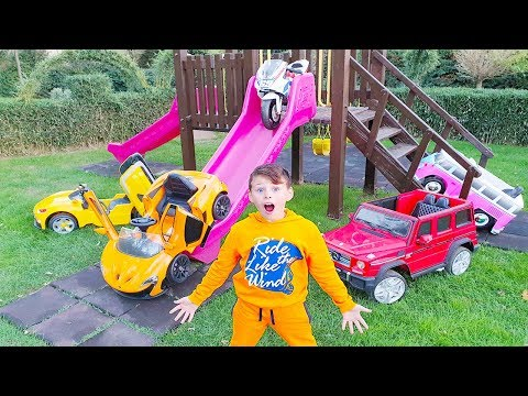 ALİNİN ARABALARI EVDEN KAÇTI Toy Cars Escaped Kid Ride on Power wheels