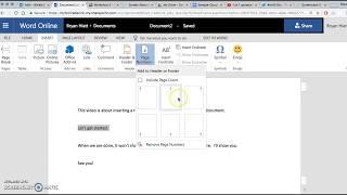 Insert Running Header into Word Online Document MLA