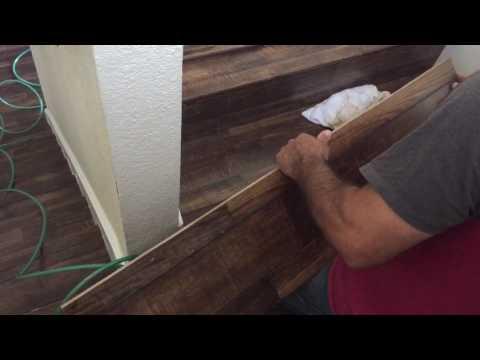 Stair installation of laminate flooring