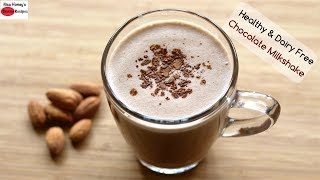 Chocolate Almond Milkshake Recipe - Healthy & Dairy Free - Vegan Milk Shake | Skinny Recipes