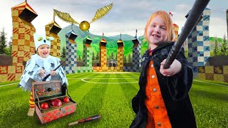 Adley Visits HOGWARTS!! Harry Potter Family Makeover! (baby Brother Niko Is Hedwig)