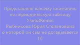 Умножение. Что то нас скрывают. Таблица УмноЖения Рыбникова Юрия Степановича.