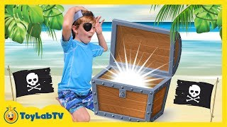 Pirate Treasure Chest Toy Hunt! Surprise Toys Opening & Animal Planet Shark In Fun Kids Video