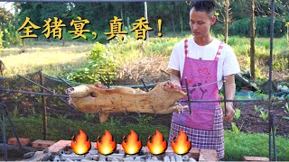 "Chef Wang teaches u: ""Grill Whole Pig"", it's golden crispy outside and tender inside, so delicious!"