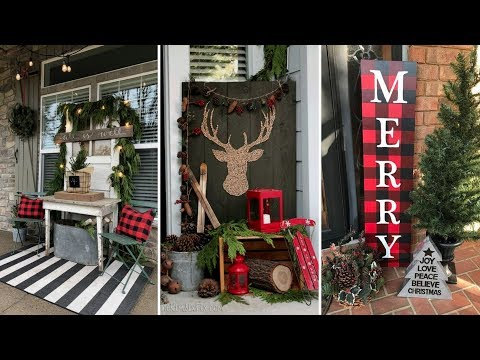 ❤DIY Rustic Farmhouse style Christmas Front Porch decor Ideas❤ |  Front door decor| Flamingo Mango