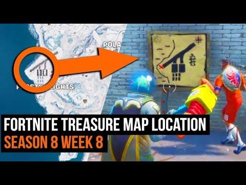 fortnite treasure map location guide season 8 week 8 challenges - fortnite search treasure map signpost found in paradise