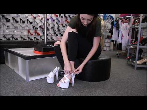 Review Pleaser Adore 730 White Strappy 7 Inch High Heel Pole Shoes