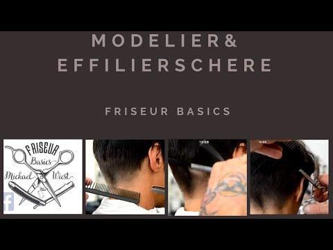 Modellierschere, Effilierschere die Treppchen und Schatten herausarbeiten