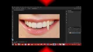 Photoshop CS6: How to make Vampire teeth, Tutorial HD
