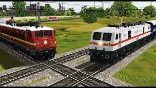 Two trains crossing each other at India