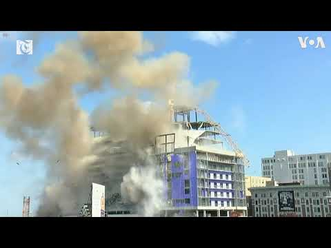 Cranes Demolished Over Hard Rock Hotel Ruins in New Orleans
