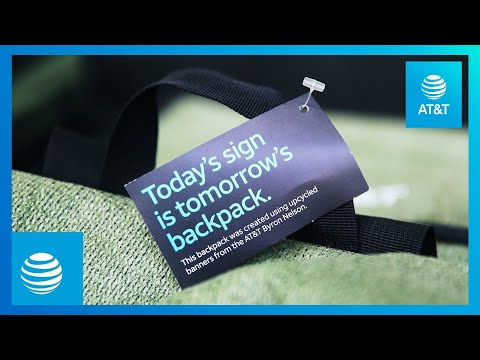 Donating Recycled Backpacks with Banners and Backpacks | AT&T-youtubevideotext