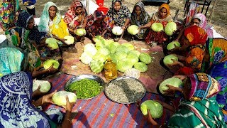 Cabbage, Shrimp, Potato & Bori Mashed Prepared By 20 Women - Healthy & Tasty Village Food Recipe